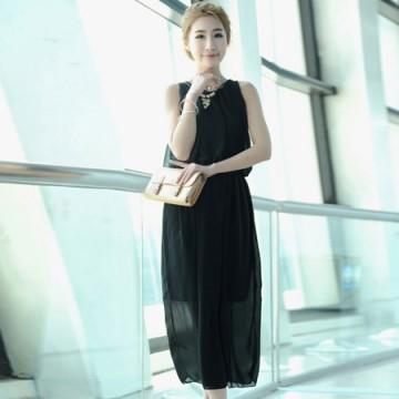 TE68056YWQS Korean Fashion Vest Chiffon Maxi Dress