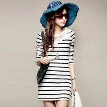 TE86032JYS Navy Style Lace Neckline Stripes Simple Dress