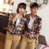 TE6533YHZL Korean Fashion Loose Joker Plaid Couple Shirt