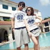 TE8686QQ Korean Fashion Simple Printing Couple T-shirt and Shorts Set for Girl