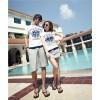 TE8686QQ Korean Fashion Simple Printing Couple T-shirt and Shorts Set for Girl
