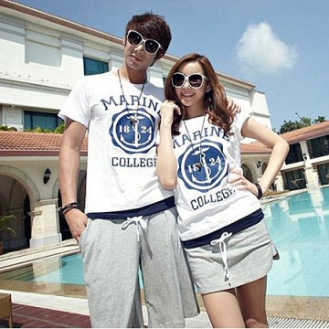 TE8686QQ Korean Fashion Simple Printing Couple T-shirt and Shorts Set for Boy