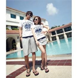 TE8686QQ Korean Fashion Simple Printing Couple T-shirt and Shorts Set for Boy