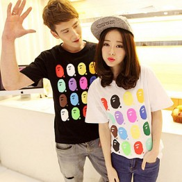 TE9208QQ Korean Fashion Trendy Causal Couple T-shirt