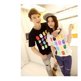 TE9208QQ Korean Fashion Trendy Causal Couple T-shirt