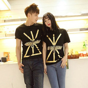 TE9209QQ Korean Fashion Gilding Eagle Printing Causal Couple T-shirt for boy