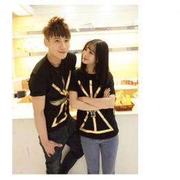 TE9209QQ Korean Fashion Gilding Eagle Printing Causal Couple T-shirt for boy