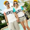 TE9189QQ Contract Color Letters Printing Couple T-shirt and Shorts Set for Girl