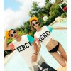 TE9189QQ Contract Color Letters Printing Couple T-shirt and Shorts Set for Boy