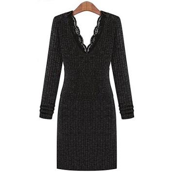 TE8971WMSS Europe fashion slim lace v-neck long sleeve dress