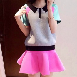 TE9517YBF Hot Sake Geometry Pattern Candy Color Skirt Suit