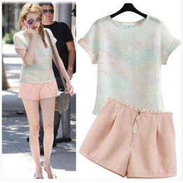 TE8332MLGN Europe fashion pink tops and shorts suit
