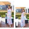 TE6533YYM Bohemia style v-neck halter chiffon maxi dress