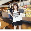 TE9689AYY Korean fashion beads stripes splicing short sleeve T-shirt