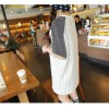 TE9689AYY Korean fashion beads stripes splicing short sleeve T-shirt