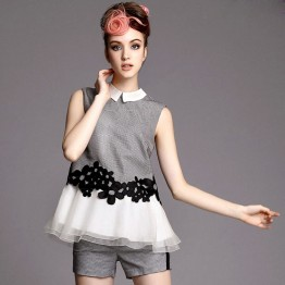 TE9040LLYG Flower grenadine sleeveless tops and shorts suit