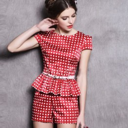 TE9042LLYG Summer fashion OL flouncing tops and shorts suit