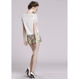 TEL8846LYLR Europe fashion gridding design tops and flowers shorts suit