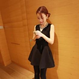 TE6538XYYC Star style slim v-neck sleeveless dress