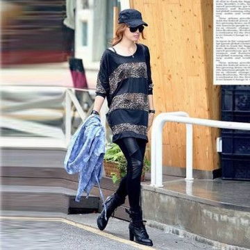 TE9736AYY Casual leopard splicing batwing T-shirt