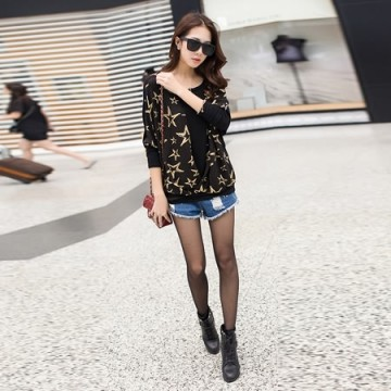 TE6663AYY Gilding five-pointed star loose long sleeve T-shirt