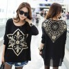 TE6670AYY Crow heart print chiffon splicing loose T-shirt