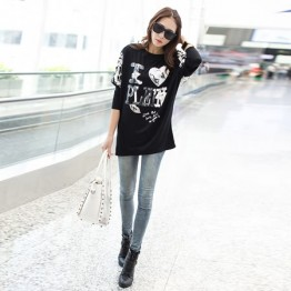 TE6672AYY Heart sequins embroidery loose T-shirt