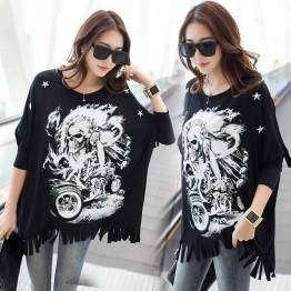 TE6673AYY Skull print tassel hem loose T-shirt