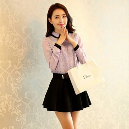TE8008YYF Long sleeve slim doll collar shirt with bouffancy skirt purple