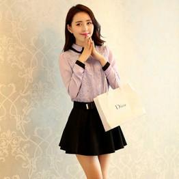 TE8008YYF Long sleeve slim doll collar shirt with bouffancy skirt purple