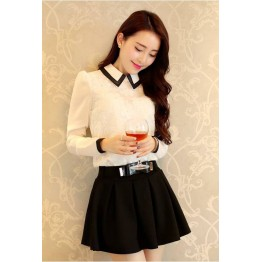 TE8008YYF Long sleeve slim doll collar shirt with bouffancy skirt white