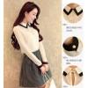 TE8008YYF Long sleeve slim doll collar shirt with bouffancy skirt white