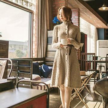 TE7589HDW Korean stand collar long sweater coat with belt