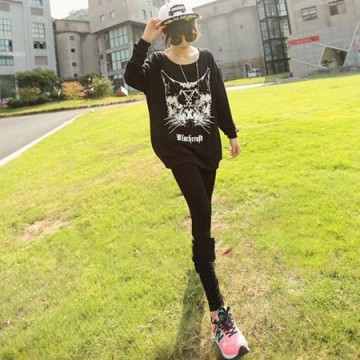 TE6389XYYC Cartoon cat print loose casual sweatshirt