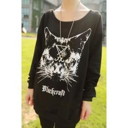 TE6389XYYC Cartoon cat print loose casual sweatshirt