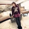 TE6529XYYC Korean style totem print thicken fleece dress