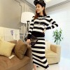TE5967DD Cross stripes hooded t-shirt with long skirt