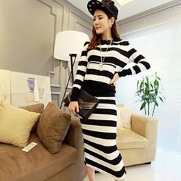 TE5967DD Cross stripes hooded t-shirt with long skirt