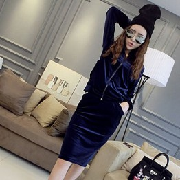 TE5970DD Stripes shoulder pleuche zipper coat with long skirt