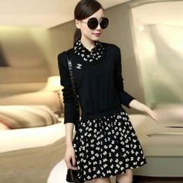 TE6311LLNR Long sleeve fake two piece shivering dress black
