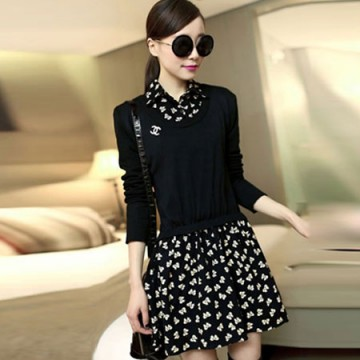 TE6311LLNR Long sleeve fake two piece shivering dress black