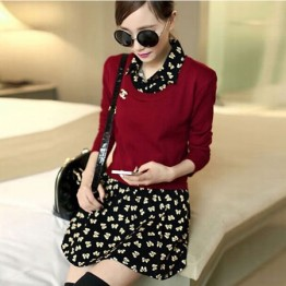 TE6311LLNR Long sleeve fake two piece shivering dress red