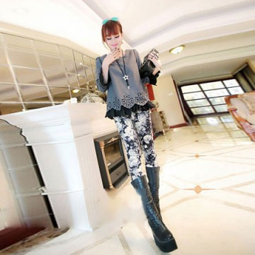 TE6397XYYC Europe style vintage print slim leggings