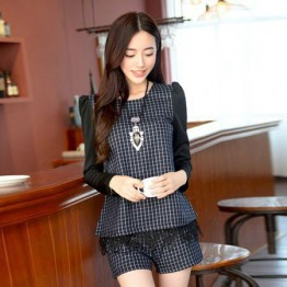 TE6963BLJL Casual grid long sleeve tops with shorts blue