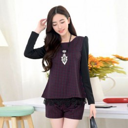 TE6963BLJL Casual grid long sleeve tops with shorts red