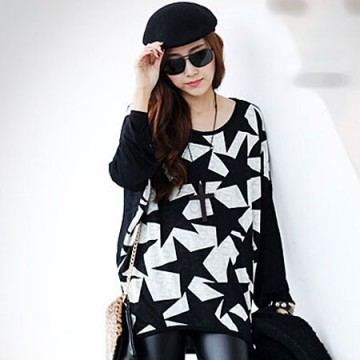 TE59108BLJL Casual five-pointed stars print long sleeve T-shirt