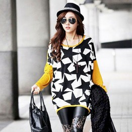 TE59109BLJL Casual five-pointed stars print long sleeve T-shirt