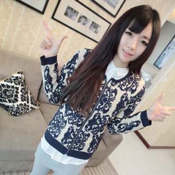TE9926MLG Korean fashion slim blue and white porcelain pattern sweater