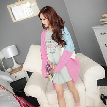 TE9026MLCQ Candy color matching casual sweater
