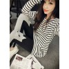 TE9129YBF Joker casual stripes round neck long sleeve T-shirt